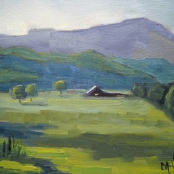 Farm In The Valley by Carol Schiff (Original) by Carol Schiff - I spend summers in the Blue Ridge Mountains of North Carolina and Tennessee.  I love to drive the rural mountain road and find beautiful scenes such as this to paint.