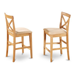 "East West Furniture - X in Back Stool with Seat in Oak Finish - Set of 2 - X-Back stool with upholstered seat in Oak finish; The Pub Set has contemporary styling to complement any decor.; This dinette is ideal for a small kitchen or dining area.; It has durable construction with Asian solid wood, available in two lovely finishes -- oak or rich brown.; The counter-height stools feature attractive X-backs with a choice of wood seats or neutral-colored, upholstered seats.; Weight: 38 lbs; Dimensions: 18""L x 17""W x 41.5""H"
