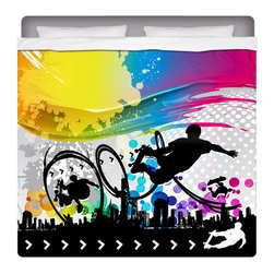 """Eco Friendly """"Skate City"""" Skateboard Bedding King Sheet Set - Our """"Skate City"""" King Size Skateboard Sheet Set from our Extremely Stoked Skateboard Bed and Bath Collection is made of a lightweight microfiber for the ultimate experience in softness~ extremely breathable!"""