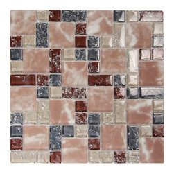 French Pattern Crius 2 Glass Mosaic - The Ocean Mosaics staff has over 25 years of combined experience in the ever-evolving glass and natural stone industry. We continually work to select the finest stone and glass products to add to our collections. Colorful statement with rose and amber tones for that perfect accent wall.
