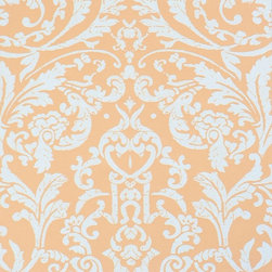 Walls Republic - Luscious Orange Pink Ornamental Wallpaper, Double Roll - Luscious is a medium scale damask pattern layered with fine lace detailing. Use it in any space to create a warm traditional atmosphere.