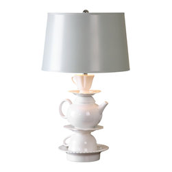 Jim Parsons - Jim Parsons Tea Time Transitional Table Lamp X-43262 - Ceramic base finished in a high gloss white glaze accented with polished nickel plated details. The tapered round hardback shade is hand painted in a light gray. Due to the nature of fired glazes on ceramic lamps, finishes will vary slightly.