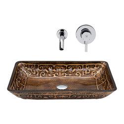 VIGO Industries - VIGO Rectangular Golden Greek Glass Vessel Sink and Wall Mount Faucet - The VIGO Rectangular Golden Greek glass sink set with Chrome wall mount faucet brings simple luxury to a home.