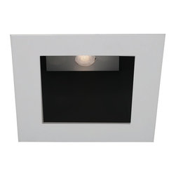 "WAC - WAC White - Black 4"" LED Square Recessed Light Trim - Polish the look of your ceiling lights with this square recessed lighting trim in white. Made die-cast aluminum with a abrasion resistant powder coated paint. The trim has a black baffle for reduced glare. With a narrow flood beam spread and a 40 degree visual cutoff angle for light that is easy on the eyes. Use with insulated ceiling new construction and remodel housings. For use with WAC Lighting recessed products. Square recessed lighting trim. White finish. Black baffle. Die-cast aluminum construction. Abrasion resistant powder paint. Rated for one maximum 15 watt LED bulb (not included). For use with IC new construction and IC remodel WAC recessed housings. Housing not included. Narrow flood beam spread. Deep light source regression for low glare. 40 degree visual cutoff. 5 1/4"" wide. 2 3/8"" high. Less than 1/8"" thick. Aperture is 4"".  Square recessed lighting trim.   White finish.  Black baffle.  Die-cast aluminum construction.  Abrasion resistant powder paint.  Rated for one maximum 15 watt LED bulb (not included).  For use with IC new construction and IC remodel WAC recessed housings.  Housing not included.  Narrow flood beam spread.  Deep light source regression for low glare.  40 degree visual cutoff.  5 1/4"" wide.  2 3/8"" high.  Less than 1/8"" thick.  Aperture is 4""."