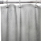 Ex-cell Home Fashions, Inc.,bath - Flecks Embossed Shower Curtain Liner in Grey - This 100% chlorine-free PEVA Flecks shower curtain liner is simple and sturdy enough to be used as a shower curtain on its own or as a liner. It features a reinforced header with metal grommets for stability and magnets on the hem.