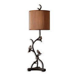 Uttermost Three Little Birds Table Lamp - 39H in. Rustic Bronze - About UttermostThe mission of the Uttermost Company is simple: to make great home accessories at reasonable prices. This has been their objective since founding their family-owned business over 30 years ago. Uttermost manufactures mirrors art metal wall art lamps accessories clocks and lighting fixtures in its Rocky Mount Virginia factories. They provide quality furnishings throughout the world from their state-of-the-art distribution center located on the West Coast of the United States.