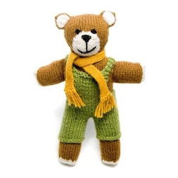 "Sitara Collections - Handmade Stuffed Knit Teddy Bear - This Knit Teddy Bear, Handmade From Peruvian alpaca, is Irresistible Both in Terms of Cuteness and sourcing. Hand-Knit and Crafted by indigenous Peruvian Women, this Teddy Bear is a Fun, Quality Stuffed animal That Provides Much-Needed income for Women in Peru. Perfect for Children or Stuffed-animal Lovers of any age! alpaca, Sheep and acrylic Blend Yarn 100% Poly Fill 9"" X 3"" Dressed in Removable Green Overalls and orange Scarf Country of origin: Peru."
