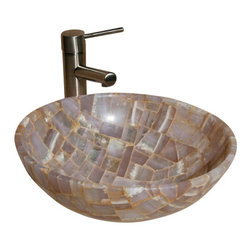 """The Allstone Group - L-VMR-R-16L Polished #2 Vessel Sink - Natural stone strikes a balance between beauty and function. Each design is hand-hewn from 100% natural stone.  Allstone mosaic vessel sinks are our only product that is not carved from one single piece of stone.  Onyx was used in Egypt as early as the Second Dynasty to make bowls and other pottery items. Onyx is also mentioned in the Bible at various points, such as in Genesis 2:12 """"and the gold of that land is good: there is bdellium and the onyx stone"""", and such as the priests' garments and the foundation of the city of Heaven in Revelation."""