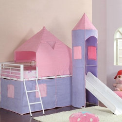For Kids - Fantasy castle design bunk bed will make any princess happy. Features include slide, top bunk and a closed draped area for fun play.