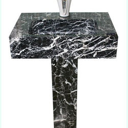 Modern Mosaics - Modern Mosaics Hand Carved Marble Pedestal Lavatory - Includes pre-drilled single Hole, but can be drilled for wide spread faucet.
