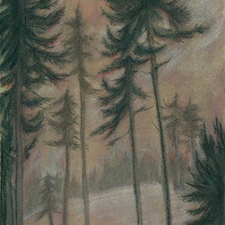 """Logging Site Mixed Media Drawing"" Artwork - An impressionistic mixed media drawing and painting of sky and forest trees. The artwork has several layers of drawings which give it a richness and depth.  This is a signed original fine art mixed media painting by Washington state artist Kathleen Ney. The paper size is 9.75 x 13.5, the image size is appx 9 x 12 on watercolor paper. The last photo shows it in a standard frame and mat. Will be shipped unframed in rigid cardboard packaging.  Please note: Colors may vary slightly due to photography and difference in monitors."