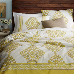 Organic Cotton Mandala Ikat Duvet Cover - I love how this duvet cover in citron green adds a tribal vibe to the bedroom. The Aztec-inspired diamond motif is fun and vibrant.
