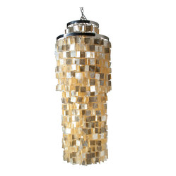 Round Queen Size Chandlier with Square Capiz Seashells, Gold Hue