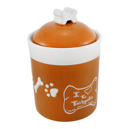 Comical `I Love To Tailgate` Orange/White Dog Treat Jar - This comical dog treat jar expresses a dog`s passion for a rather smelly type of communication with the sentiment `I Love to Tailgate` printed on the side. Measuring 7 1/2 inches tall with a 5 inch diameter, this cute jar can hold a decent number of your dog`s favorite treat. The ceramic jar has a glossy orange finish with a white trim and white dog paws and bones engraved around the center. The orange lid, topped with a white bone-shaped handle, features a plastic seal that will keep Spot`s treats fresh. Guests will admire this funny doggy jar and your dog will be tailgating you for another treat.