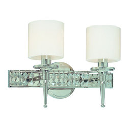 Troy Lighting - Troy Lighting B1922 Collins 2 Light Bathroom Vanity Light - It�s your bathroom�s time to shine with new lighting, and the Collins 2-Light Bathroom Vanity wall fixture from Troy Lighting is an elegant choice that will make all the difference. Fashioned from hand-forged iron with hand-applied finishes, the Collins collection fuses classic lines with high-style appeal. With its Diamond Crystal accents, Opal Glass shades and shimmering Polished Nickel finish, it transforms the everyday bathroom into an elegant haven. Accommodates two 60-watt candelabra base bulbs.Features: