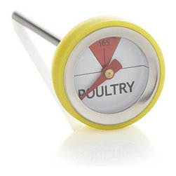 "Leave-In Mini Poultry Thermometer - Mini ""button"" thermometers make it easy to prepare poultry to proper cooking temperatures. Thermometers should be left in during roasting or grilling (best placement is in the side so food can be turned during cooking)."