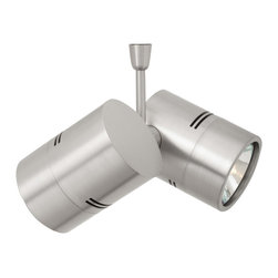 LBL Lighting - Twin Spot Swivel Monopoint - Twin Spot Swivel monopoint features two independent MR16 swivel heads, double the beam direction, and illumination versatility. Each head pivots 340 degrees and the entire assembly rotates 360 degrees. Available in 3, 6, and 12 inch stem lengths. Finish available in satin nickel, or bronze. 4 inch round canopy included. Two 35 watt, 12 volt, MR16 lamp is included.