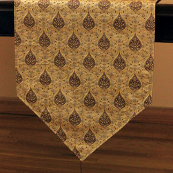 Chic Jacquard Table Runner (Espresso) - Gorgeous jacquard table runner features whimsical yet elegant design for a practical yet luxurious look for your table. Color: Espresso. Made in India