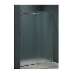 Vigo Industries - 60 in. Frameless Shower Door in Frosted Glass - Make your bathroom an oasis with a Vigo frameless shower enclosure.