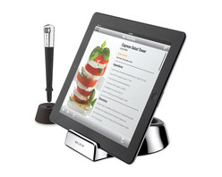 Chef Stand + Stylus - Made especially for use in the kitchen, the Chef Stand + Stylus gives you the freedom to interact with your tablet while you cook—without worrying about touching your device with messy hands. The case-compatible stand has a non-slip rubber base and two different angles that are ideal for countertop use.