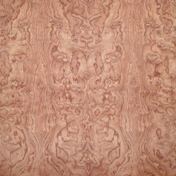 Figured Kevazinga Veneer - Kevazinga veneer is an exotic hardwood that is sometimes referred to as waterfall Bubinga. It is a reddish brown with contrasting darker color veining and has a prominent figure. Available in a variety of backers and sizes.