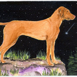 Caroline's Treasures - Starry Night Vizsla Kitchen Or Bath Mat 24X36 - Kitchen or Bath COMFORT FLOOR MAT This mat is 24 inch by 36 inch.  Comfort Mat / Carpet / Rug that is Made and Printed in the USA. A foam cushion is attached to the bottom of the mat for comfort when standing. The mat has been permenantly dyed for moderate traffic. Durable and fade resistant. The back of the mat is rubber backed to keep the mat from slipping on a smooth floor. Use pressure and water from garden hose or power washer to clean the mat.  Vacuuming only with the hard wood floor setting, as to not pull up the knap of the felt.   Avoid soap or cleaner that produces suds when cleaning.  It will be difficult to get the suds out of the mat.