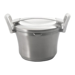 """Berghoff - Berghoff Auriga Stainless Steel Covered Casserole 8"""" - The patented 6-layer base transfers heat quickly and spreads evenly throughout the complete surface of the base. 18/10 stainless steel body with white stay cool handles. Practical scaling inside. Convenient pouring rim and the design of the handles on body and lid offer hassle-free pouring of liquids. Suitable for all heat sources, induction included."""
