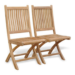 Rockport Folding Chairs - Made from premium teak, our Rockport folding chairs can go anywhere you want them to go -- even to the dock for dinner.