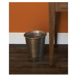 KCK Bathroom Mirrors & Accessories - Waste Basket In Brushed Nickel- Elevate the status of your trash. This handcrafted, graceful, fluted hand hammered copper waste bin is an essential complement to Native Trails bath sinks, vanities and mirrors. Available in Antique and hand dipped Brushed Nickel finishes. Take your pick!
