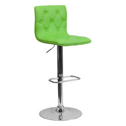 Flash Furniture - Tufted Green Vinyl Adjustable Height Bar Stool with Chrome Base - With its buttoned and tufted detailing, this adjustable height bar stool will make a lovely contemporary accent to your kitchen, dining, or bar area. The height adjustable swivel seat adjusts from counter to bar height with the handle located below the seat. The base and footrest have a chrome finish to complement the chair's modern design.
