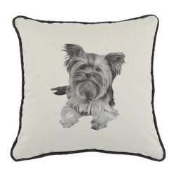 DKei Inc. - D'Kei Yorkshire Terrier Graphics Pillow Multicolor - P17-DOG02-NO-BK - Shop for Pillows from Hayneedle.com! Furnish your home with the retro design of the D'Kei Yorkshire Terrier Graphics Pillow. This stylish pillow is made with 75% cotton and 25% linen cover. Filled with 100% hypoallergenic polyfill. A sweet Yorkshire terrier image is shown in shades of grey. Eco-friendly water-based inks are used for all images. The black cord edging of this pillow provides a fashionable accent. Made in the USA.