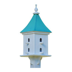 "Dovecote Birdhouse-Perches Vinyl/Copper - Architectural birdhouse adds elegant curb appeal to your place with clean lines and 28"" height from base to finial. Never a worry of rotting, cracking, splitting or fading... guaranteed!"