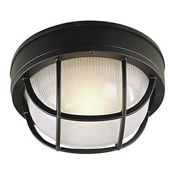 Craftmade - Small Round Cast Ceiling Mount Outdoor Light - Bulb Type: A-Type. Max Watt: 1x60W. Glass Finish: Frosted Halophane. Height: 4.5 in.. Width: 8.0 in.. Type of Fixture: Small Flushmount. Top to Outlet: 4.0 in.