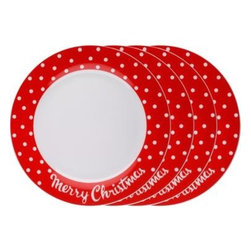 Merry Christmas Dinner Plates - Christmas dinner on Christmas plates: It just makes sense. I love this vintage polka dot look.