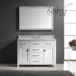 "Virtu USA - Virtu USA MS-2048-WMSQ-WH White / Square Sink Caroline Caroline Avenue - Vanity Package Includes:  Solid oak vanity cabinet 1"" Marble vanity top Undermount single basin sink  Vanity Cabinet Features:  Constructed of solid oak providing both durability and aesthetic appeal Covered under Virtu USA s limited two year warranty Vanity features 5 full extension drawers providing ample concealed storage space – drawers operate on smooth ball-bearing glides Vanity features 1 full sized cabinets with matching doors providing ample storage space This model is a complete package – includes vanity top and sink This fixture is highlighted by an included full sized rectangular mirror Complete with matching decorative hardware All necessary parts and hardware for assembly and installation are included Solid construction and assembly provides years of reliable performance  Vanity Top Features:  Vanity top is constructed of granite providing a sturdy feel and a clean appearance Covered under Virtu USA s limited 2 year warranty Top features a choice of a round or square recessed single basin sink Center drain location provides optimal draining capability Equipped with overflow drain – works in tandem with the primary drain to prevent an overflow or spillage Vanity top is equipped with backsplash to help contain any messes to the counter top Sturdy mounting assembly – ensuring safety and reliability All hardware needed for installation is included  Vanity Cabinet Technologies and Benefits:  Blum:Gives doors and drawers smooth sliding and self-closing capabilities.    Van"