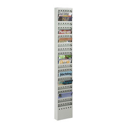 Safco - Steel Magazine Rack w 23 Pockets in Gray - Enjoy a clean, professional office space with this organization-friendly magazine rack. Completed with a neutral gray finish, the rack has 23 total pockets and can hold newspapers, magazines, brochures and more. It has mount to walls or stand freely - the choice is yours. Greenguard certified. Mounts to wall. Twenty three compartments. Powder coat paint. Made from steel. No assembly required. Compartment: 9 in. W x 0.75 in. D x 7.25 in. H. 10 in. W x 4 in. D x 65.5 in. H (23 lbs.)Display your literature, pamphlets, brochures and magazines so your guests or employees can easily view them. Whether it's for your guests in the reception area, waiting room, conference room, meeting areas, trade show booth, the lobby, foyer or entrance way or for your internal employees at a print station, lounge area, lunch or break room, mail room, supply room, classroom, media center, library or even your office, every piece of literature and magazine will have a perfect place to be displayed.