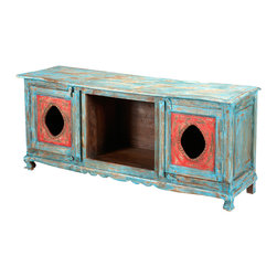 Sierra Living Concepts - Hand Painted Wooden Distressed Media TV Stand Console - Bring home a time of simplicity and elegance with the Oklahoma Farmhouse Distressed Painted