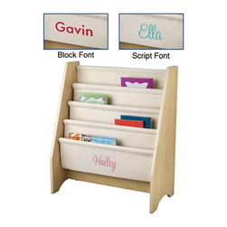 KidKraft - KidKraft Natural Book Sling with Personalization - W14221-7 - Shop for Childrens Bookcases from Hayneedle.com! Your kids will love showing off their book collection with the KidKraft Book Sling. Featuring soft canvas shelves that keep books from being damaged this handy sling is designed for almost any size books and lets you display the front or back cover instead of the spine. Perfect for the young readers in your life.About KidKraftKidKraft is a leading creator manufacturer and distributor of children's furniture toy gift and room accessory items. KidKraft's headquarters in Dallas Texas serve as the nerve center for the company's design operations and distribution networks. With the company mission emphasizing quality design dependability and competitive pricing KidKraft has consistently experienced double-digit growth. It's a name parents can trust for high-quality safe innovative children's toys and furniture.