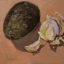 Avocado And Garlic, Original, Painting - A simple still life rendering of a ripe Avocado and colorful remains of Garlic.  Would look perfect in one's kitchen.  This original artwork is rendered in professional artist oil colors Alla Prima style.  Only the highest museum quality artist's materials have been used in its creation.