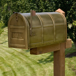 Bartlett Post Mount Brass Mailbox with MAIL Imprint - A large interior and decorative bands make the Bartlett Post Mount Brass Mailbox the ideal addition to your home.
