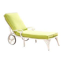 Home Styles - Home Styles Biscayne White Chaise Lounge Chair Green Apple Cushion - Home Styles - Patio Lounges - 5552831 - Create an intimate conversation area with Home Styles Biscayne Chaise Lounge Chair