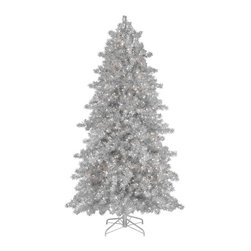 Narrow Silver Tinsel Christmas Tree - Reminiscent of aluminium silver Christmas trees popular during the 60s, our Narrow Silver Tinsel Tree sparkles and glistens in your home even when unlit. Each needle catches the light from the pre-strung clear lights, resulting in a beautiful silver spectacle that is sure to pump up the Christmas cheer in any room. Unlike those flimsy artificial Christmas trees from yesteryear, our silver Christmas tree is constructed with sturdier hinged branches that are easy to install. A narrow silhouette makes this Christmas tree a must-have for smaller spaces.