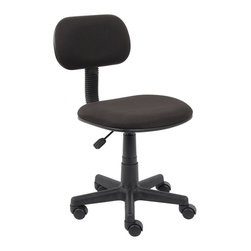 Boss Chairs - Boss Chairs Boss Black Fabric Steno Chair - One touch adjustment instantaneously raises or lowers chair. 5 star nylon base allows smooth movement. Durable plastic protects seat back and bottom from tears. Upholstered in black Crepe.