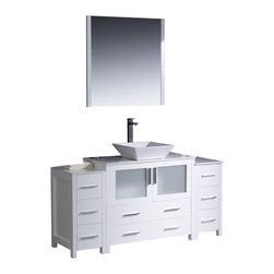 "Fresca - Fresca Torino 60"" Modern Bathroom Vanity w/ Two Side Cabinets & Vessel Sink - Wh - Fresca is pleased to usher in a new age of customization with the introduction of its Torino line. The frosted glass panels of the doors balance out the sleek and modern lines of Torino, making it fit perfectly in either Town or Country dcor."