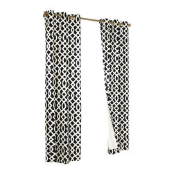 "Commonwealth Home Fashions - Trellis Thermalogic Black 80"" X 72"" Grommet Top Curtain Pair - Trellis Thermalogic Black 80"" X 72"" Grommet Top Curtain Pair.  Each package comes with two grommet top room darkening panels measuring 40"" Wide each. These curtains are thermal insulated, room darkening and are energy efficient.  The curtains insulating qualities keep your house warm in the winter and cool in the summer and can save on energy costs. These curtains block out a majority of the light but are not considered blackout curtains.  They feature a modern stylish geometric trellis pattern that is the perfect touch for that retro modern look. Made in China."