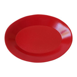 Oval Serving Dish, Cherry Red - The hand-craftsmanship and bold coloring of this serving dish makes it anything but ordinary. Mix and match with other brightly hued dining pieces for a festive, happy look at your table.