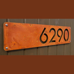 Address Plaques - Custom Modern House Numbers Horizontal Offset in Rusted Steel