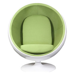 Modway - Kaddur Lounge Chair, Green / White - This retro lounge chair resembles a space-age pod creating a spark of interest in anyone who sees it. The fabric lined inner shell offers a sense of privacy and retreat as you relax into the plush cushions. Its exterior is a wonder; a molded fiberglass shell and matching fiberglass base with an integrated swivel mechanism.