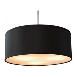 Linen Drum Shade Acrylic Diffuser Pendant Black - Linen Drum Shade Acrylic Diffuser Pendant Black, round drum shape textured linen shade two colors for your choice and two size to fit different space,acrylic diffuser at the bottom,adjustable rods in brushed nickel