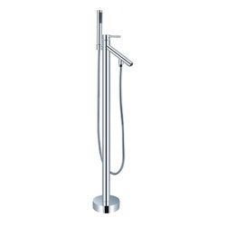 HelixBath Dettifoss Freestanding Modern Tub Faucet, Chrome with Hand Shower - Elegant, simple and minimal in design. The body of Dettifoss features a single streamlined pole from the base all the way to the top of the faucet. The entire body is forged of Brass. Designed with the sleek appeal of a simple one piece cylindrical unit from base to top. Exceptionally tailored, the upper most part of the cylinder body effortlessly transforms into a single lever style water handle. The spout descends adjacent creating a waterfall effect when filling the tub.